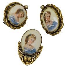 Painted Cameo Earrings & Brooch Set