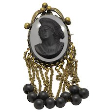 Geo Blumenthal & Co Black Glass Cameo Mourning Brooch