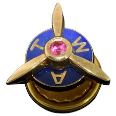 TWA Employee Propeller Service Lapel Pin 10k Gold Ruby Blue Enamel