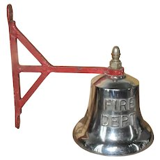Vintage Fire Department Chrome Plated Brass Bell w/Wall Bracket Brass Clapper