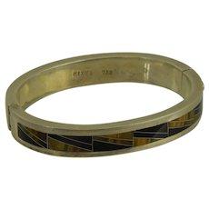Sterling Mexico Inlaid Tiger Eye Black Onyx Bangle Bracelet