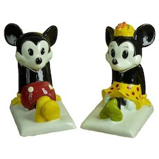 Vintage 1960s Disney Japan Mickey & Minnie Mouse Bookends Hand Made