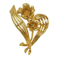 Lisner Gold Tone Floral Bouquet Brooch Pin Signed