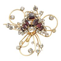 Vintage D'Eri 12k Gold Filled Crystal & Ruby Stone Brooch Pin Asymetrical