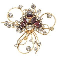 Vintage D'Eri 12k Gold Filled Crystal & Ruby Stone Brooch Pin Asymetrical