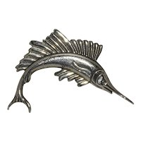 Vintage Sterling Swordfish Brooch Pin