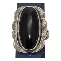 Silver Ring with Oval Black Onyx Set Stone Size 6 1/4