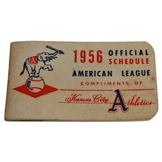 1956 Kansas City Athletics Official Schedule American League