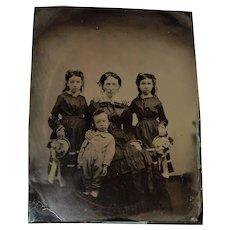 Half Plate Tintype Chocolate Mother & Children Baskets