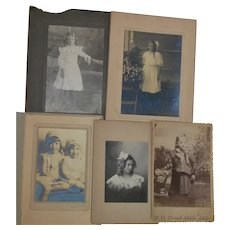 Lot of 25 Vintage Little Girl Photographs Cabinet Cards Various Age