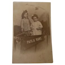 Real Picture Post Card Paola Kansas Little Girls at Fair 1918-1930 AZO
