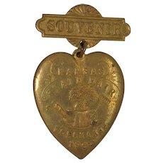 Original 1903 Kansas State Fair Souvenir Medallion  Heart Shape