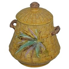 1876 Vintage Majolica Woven Biscuit Jar w/Lid