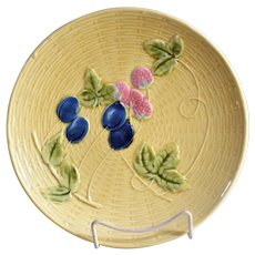 Zell Germany Majolica Basketweave & Fruit Plate