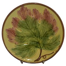 Vintage Majolica Germany Maple Leaf Zells Plate