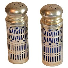 UK Filigree Shakers with Blue Glass Inserts