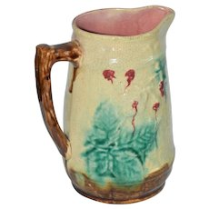 Vintage Majolica Leaves & Berries Pitcher