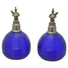 Pair Cobalt Glass Vintage Atomizers