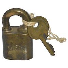 USN WWII Brass Hurd Padlock w/Key