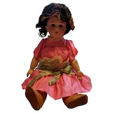 """Tete Jumeau 18"""" Beautiful vintage doll with bisque head and jointed composition body."""