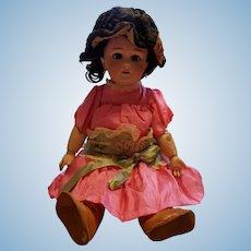 "Tete Jumeau 18"" Beautiful vintage doll with bisque head and jointed composition body."