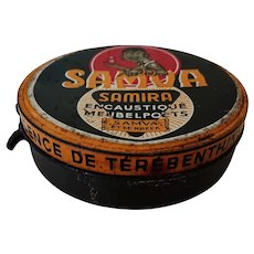 "'Samva's 'Samira' Furniture polish based on ""pure turpentine oil"". Belgium c. 1940's"