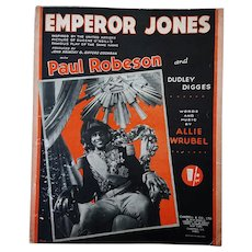 Emperor Jones - Paul Robeson 1933 Music Sheet. Allie Wrubel (words &music).