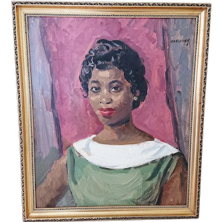 Naviasky portrait in oil -African Caribbean Young Woman (c.1950's)..