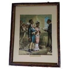 'Sambos Wedding'- 19th Century Black Americana Chromolithograph Prints