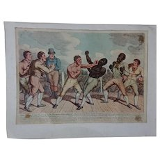 'Close of the Battle', early mid-19th century hand-coloured etching a fight between Tom Cribb and Tom Molineux