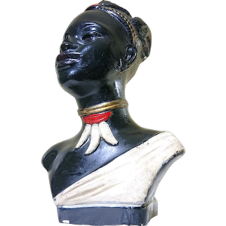 1940s-50s Chalkware Black African Maiden Lamp.  Registration- P 14021