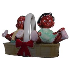 Vintage Black Americana  Babies Children  Basket Salt and Pepper Shakers