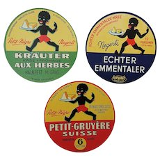 Original 'Petit Negre' Swiss Cheese Labels 1930's.