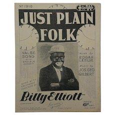 "Printed Sheet Music - ""Just Plain Folk"" 1929."