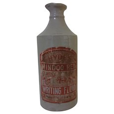 Antique Glazed Stoneware - Hindoo Red Ink Advertising Paper Bottle Label