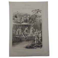 Antique Victorian Print 1875 Congo Expedition-Captain Bradshaw