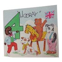 Vintage Children's Birthday Card - Golliwog & Friends