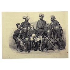 Antique Wood Engraving of the newly formed Indian Bengal Police force from 1864.