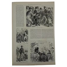 Antique Wood Engraving Political Corruption at the 1880 General Election. Illustrated London News