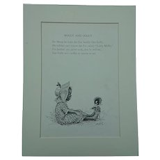 'Molly and Golly'  Vintage Children's  Illustration. 1900's Black Americana