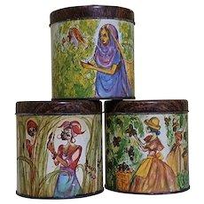 3 Vintage Kitchen Storage Tins - 'Ethnic Women'.