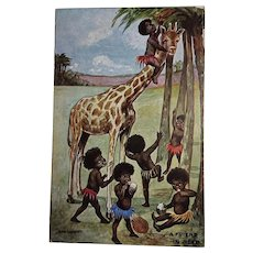 Vintage Edwardian Postcard - Children (Black Americana)