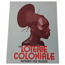 La Loterie Coloniale - Belgium National Lottery Advertisement. c.1935ing Poster