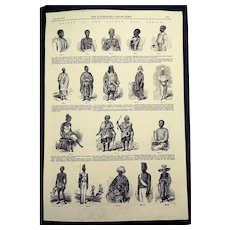 'Chiefs of Soudan' - (1858) Antique Victorian Engraving, London Illustrated News