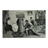 Old Antique Print 1878 'Artist Painting Young Woman Portrait' Alfred Emslie 19th