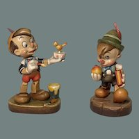 Pair of hand carved Pinocchio by Anri