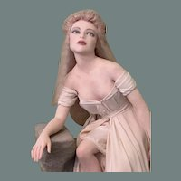 Rebecca Major OOAK Polymer clay Doll Sculpture Lady Dressed in Ivory Gown