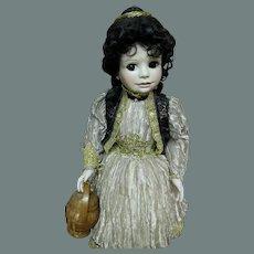 Girl W/ basket by Jerri McCloud Porcelain OOAK