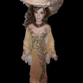 Rustie Porcelain Doll Lady in Peach OOAK