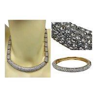 Vintage Swarovski Crystal Rhinestone Choker Necklace Bangle Bracelet Demi Parure Set